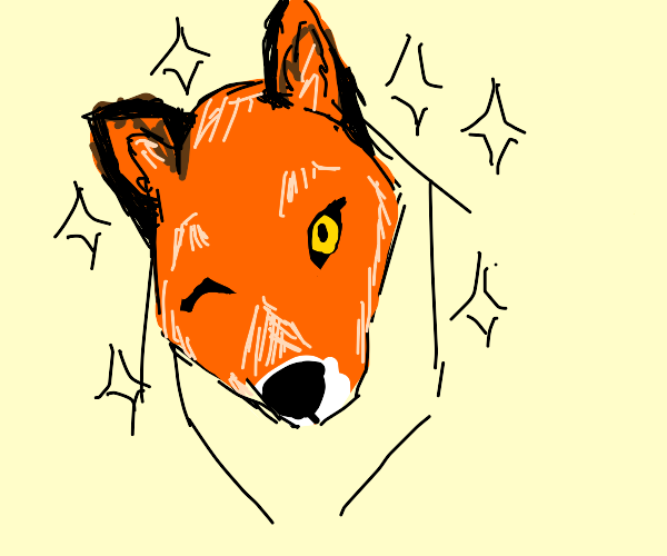 Pretty fox with sparkles winks at you