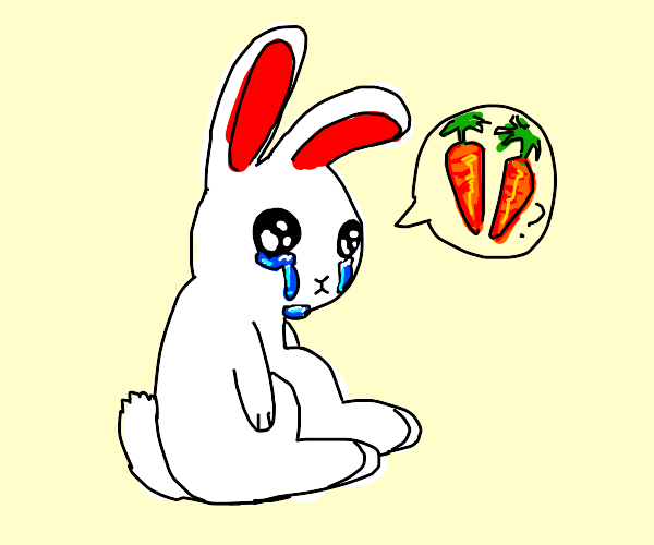 Rabbit crying about having no carrots