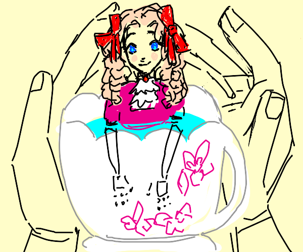 Doll bathing in a teacup