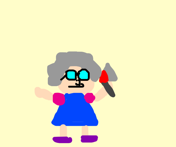 Old lady with an axe
