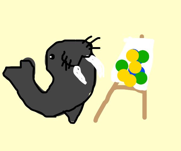 Artistically gifted walrus