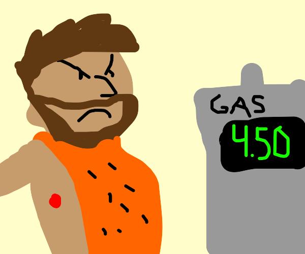 Ug the caveman is angry over gas prices.