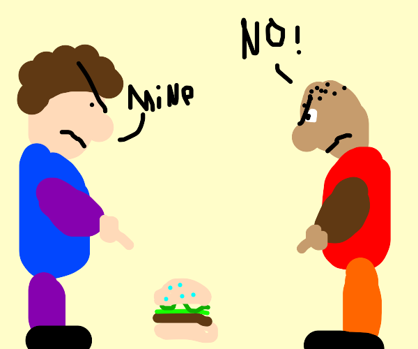 Two men fighting over food