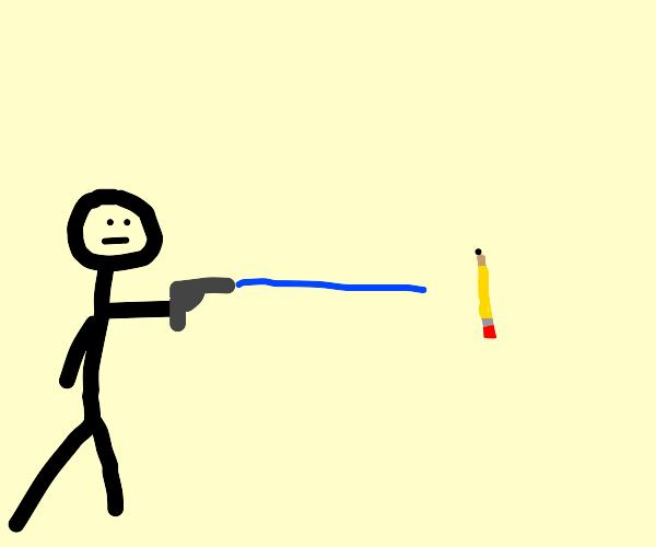 someone shooting a water gun at a pencil