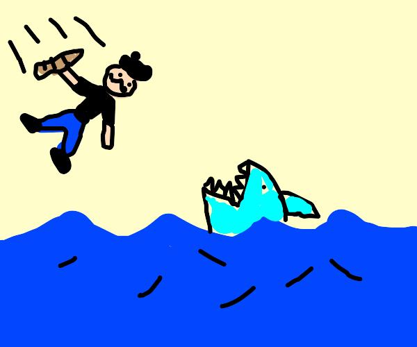 Baker jumping over the Ocean