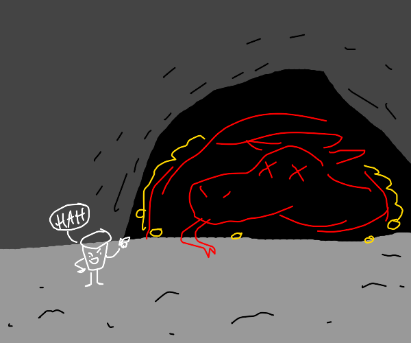 A tiny cup laughing at dead dragon in cave