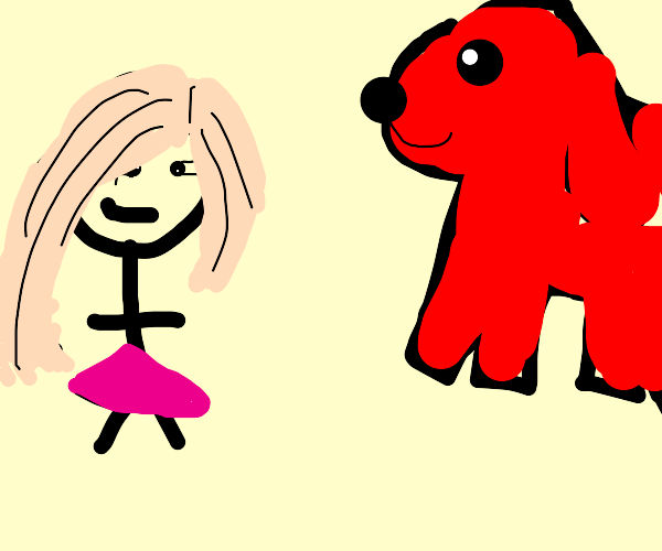 Girl and clifford the big red dog
