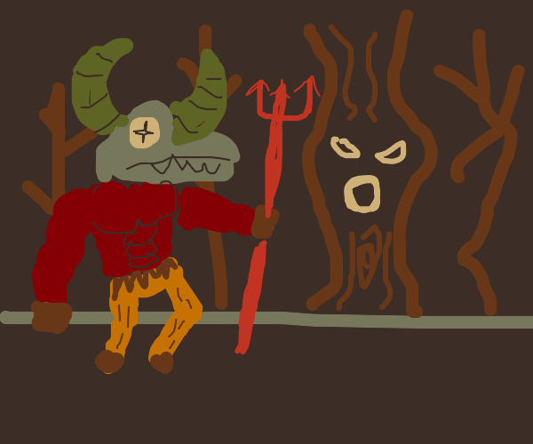 half goat devil wondering in the dark forest