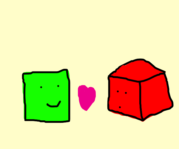 2d square is in love with 3d red cube