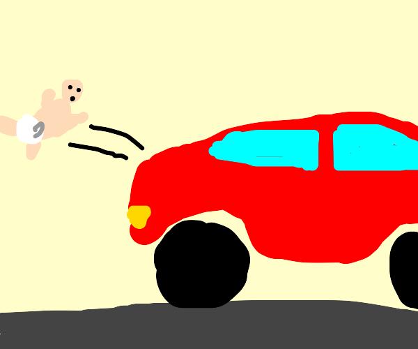 baby flies off back of car