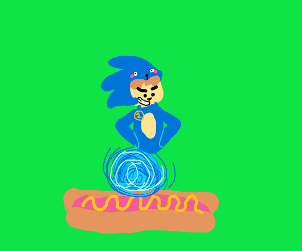 a literal sonic fan (running on hot dogs)