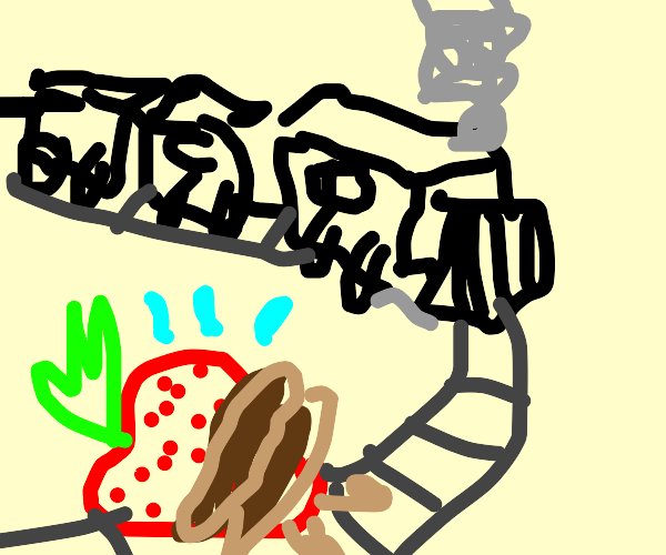 Strawberry about to die via train