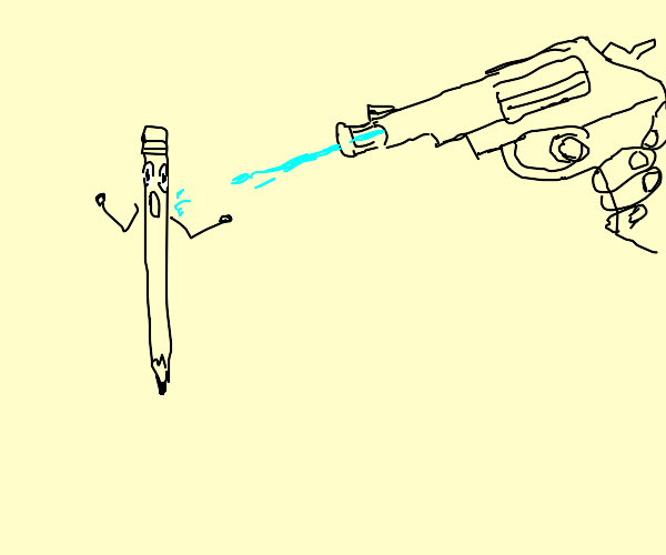 weird pencil man gets squirted with water gun