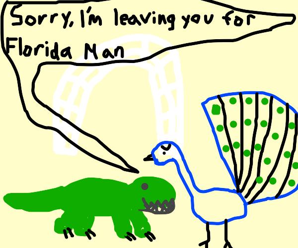 Crocodile divorcing Peacock