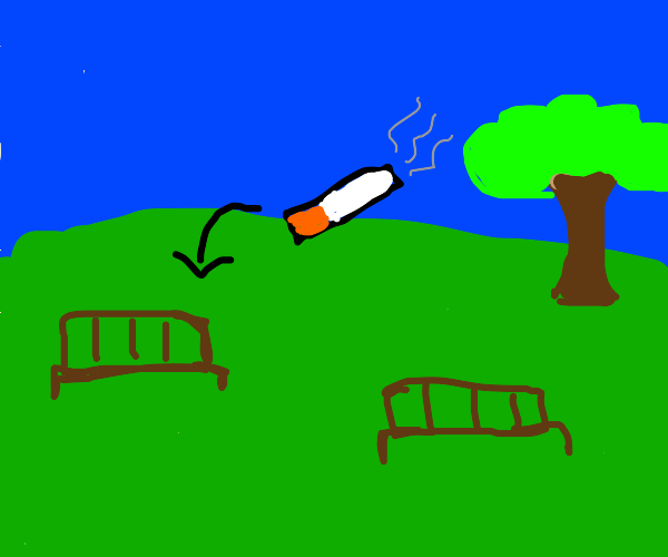 Smoking on a park bench