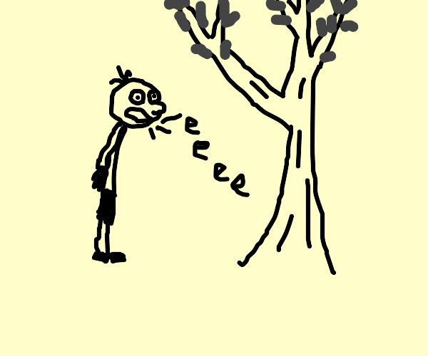 greg heffley screaming at a tree