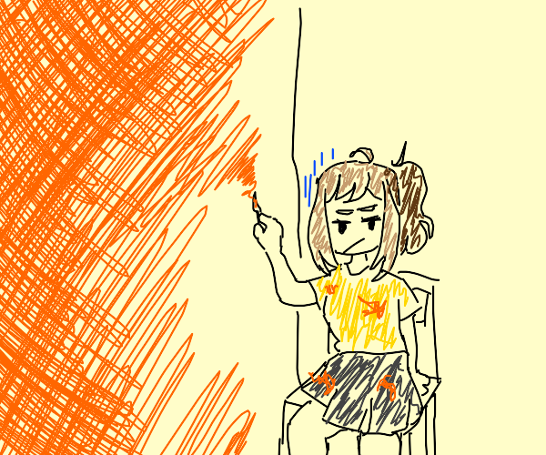Artist painting a dull wall orange