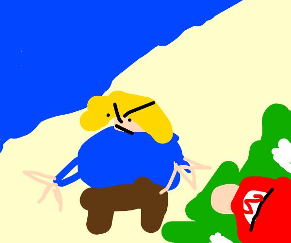 Mario spying on Karen at the beach
