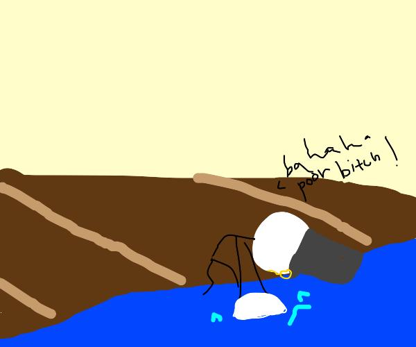 Rich stickman drowns other stickman