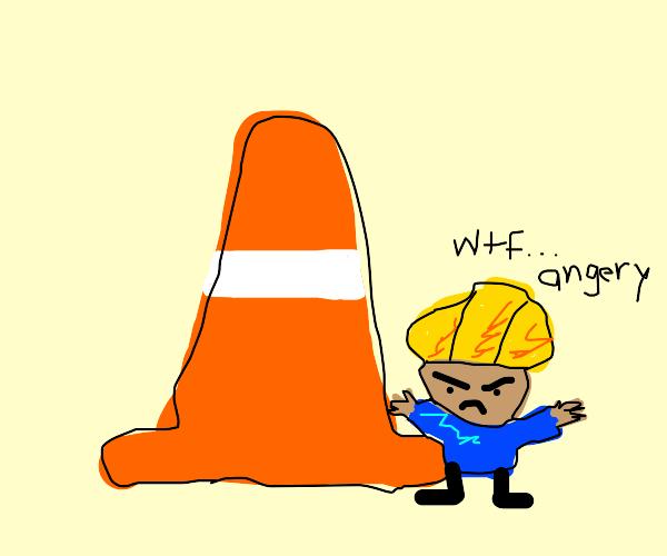 Short construction man hates traffic cones