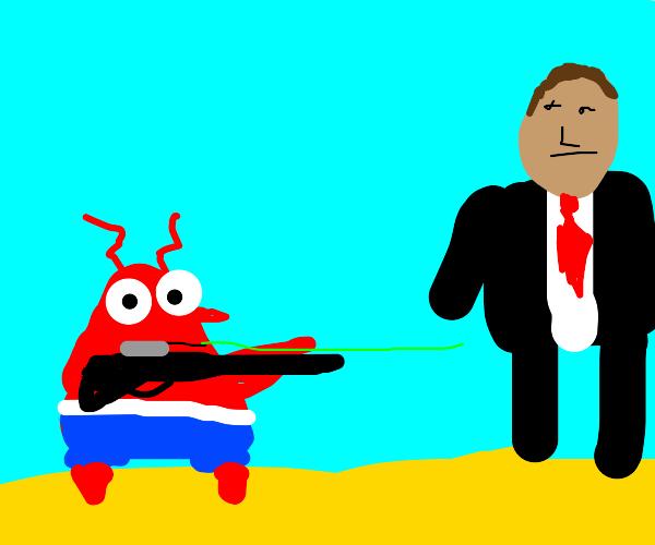 Crab aiming a gun at a random dude