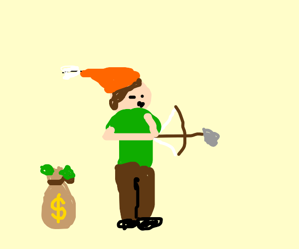 Robin hood shooting a bow with a bag of money