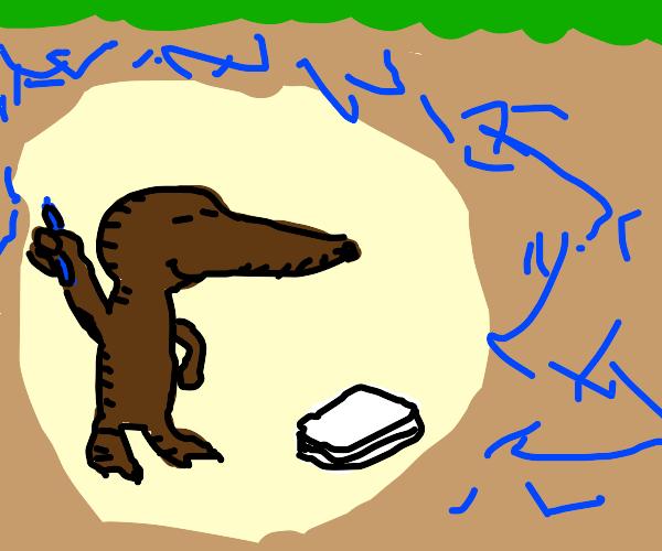 Mole writes an essay