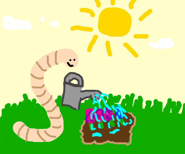 Worm takes up gardening