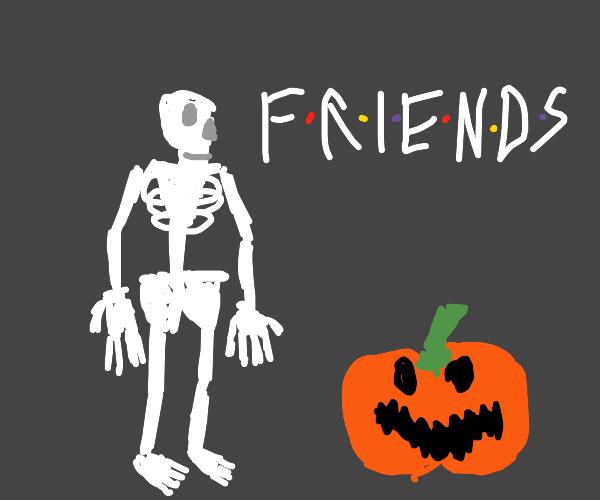 Skeleton man with a pumpkin friend