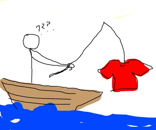 Man fishes a tshirt