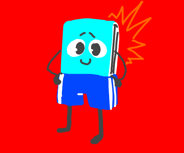 smiling book wears pants