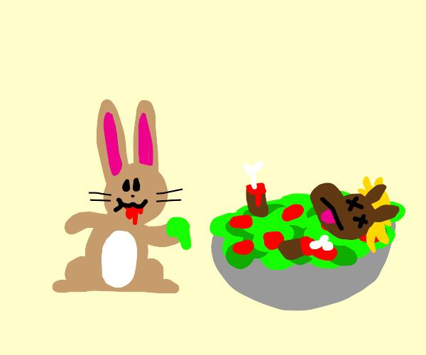 rabbit eating dead horse salad