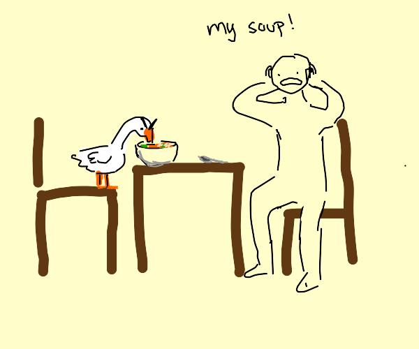 Evil ducks eat people soup