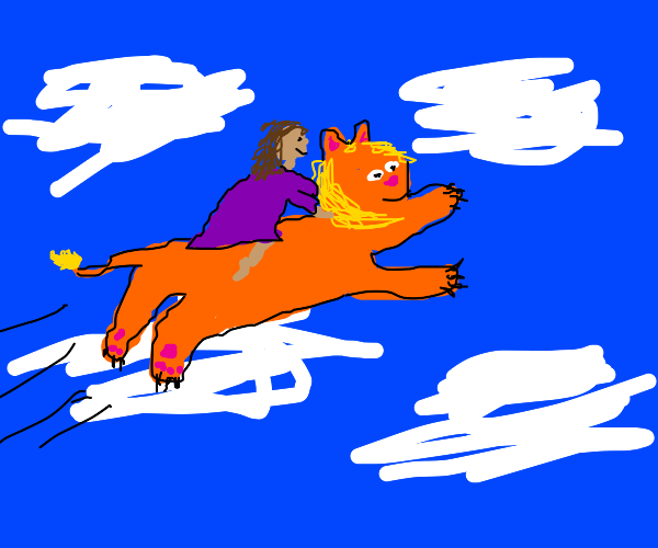 girl flying on a magical lion