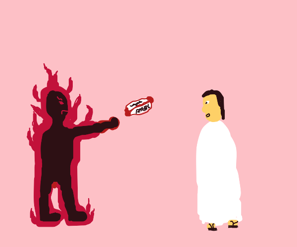 Flaming person throws rugbyball at chosen one