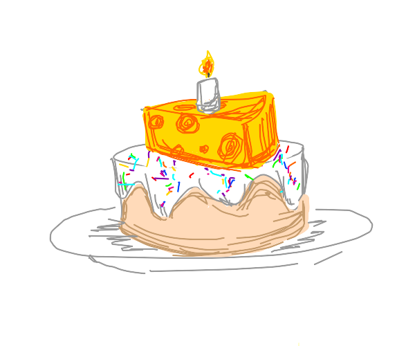 Cake covered in cheese