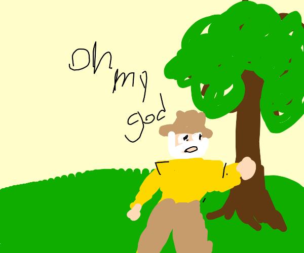 Old man pokes a tree