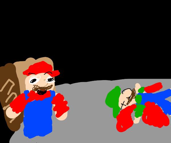 Mario finds Luigi dead in basement