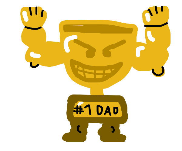 a #1 dad trophy with muscles