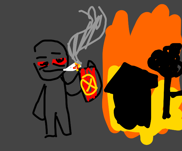 stoned dude burned down his house and a tree
