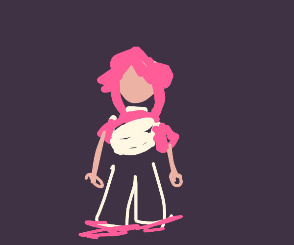 Person with short pink hair, shirt and shoes.