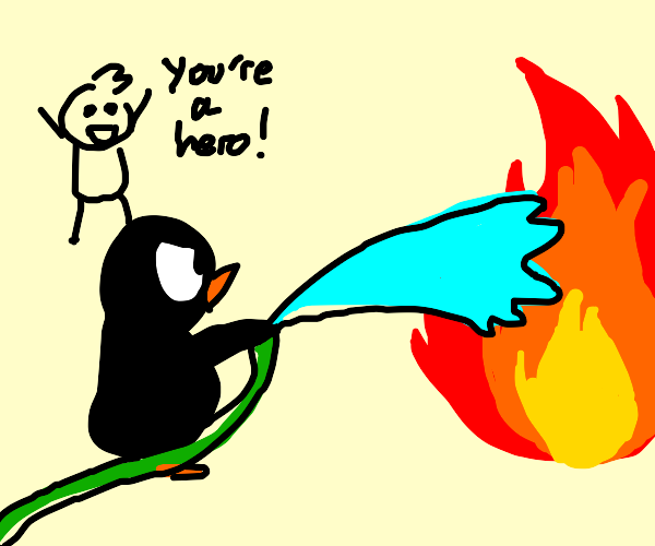 penguin fireman saves the day