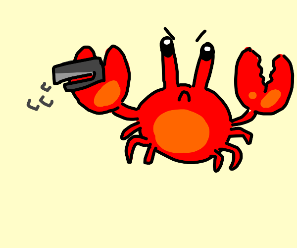 angry crab with stapler