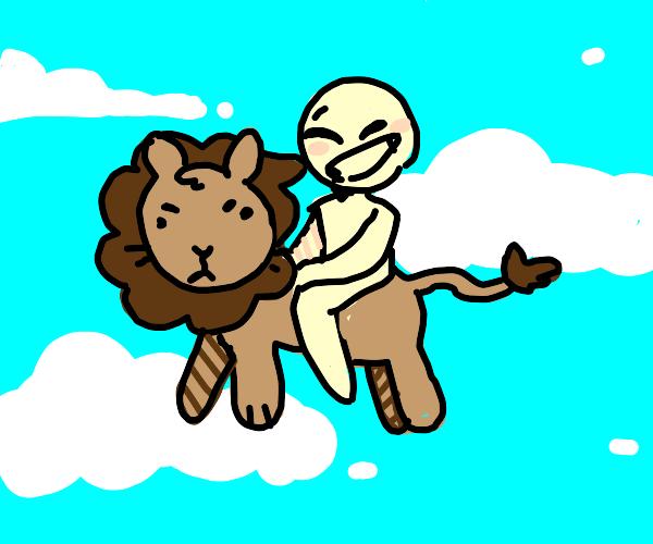 flyin on a lion