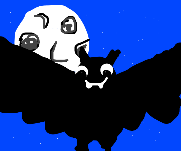 A short winged bat hovers.