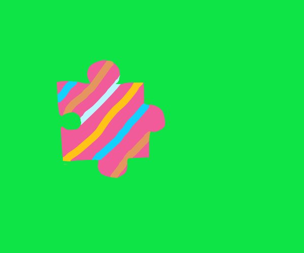 puzzle piece striped with funky colors