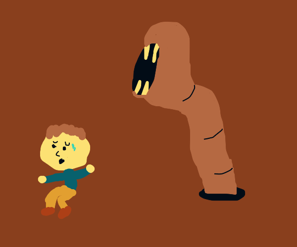 person afraid of giant earth worm
