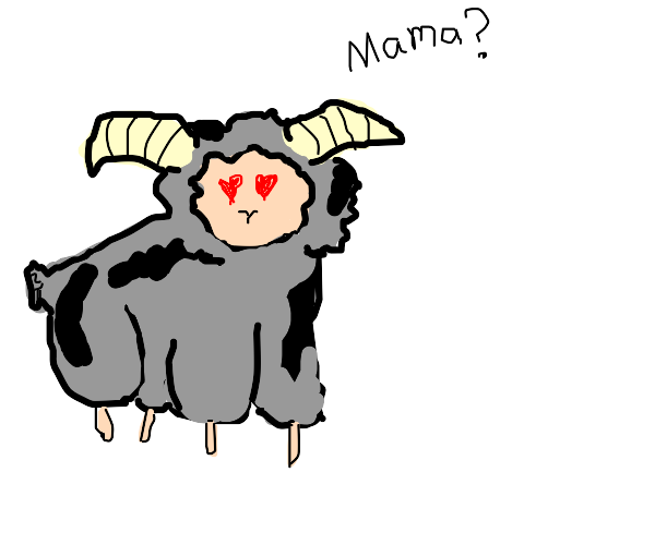 Grey and black ram wants to see its mama.