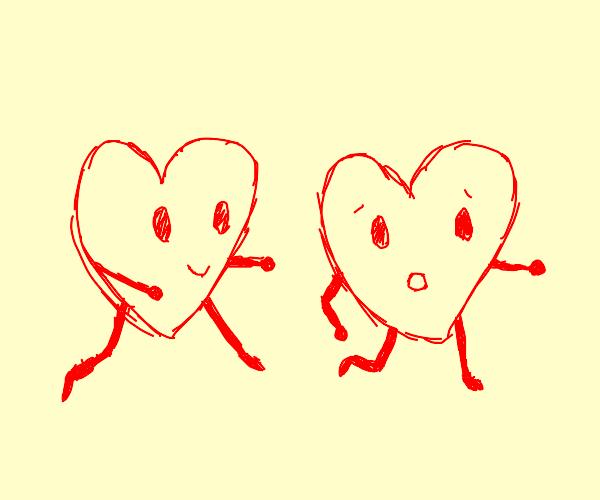 heart chasing a heart