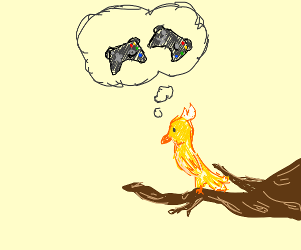A bird is thinking about video games